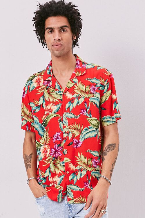 RED/MULTI Classic Fit Tropical Print Shirt, image 1