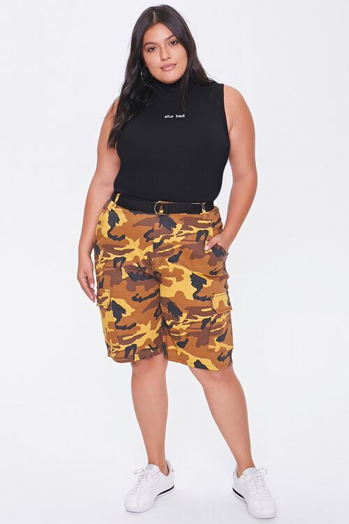 Plus Size Camo Cargo Shorts, image 5