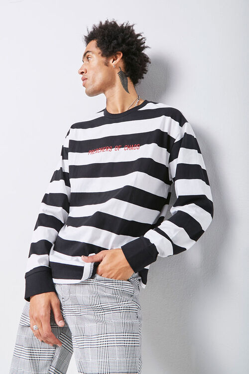 Embroidered Graphic Striped Tee, image 1