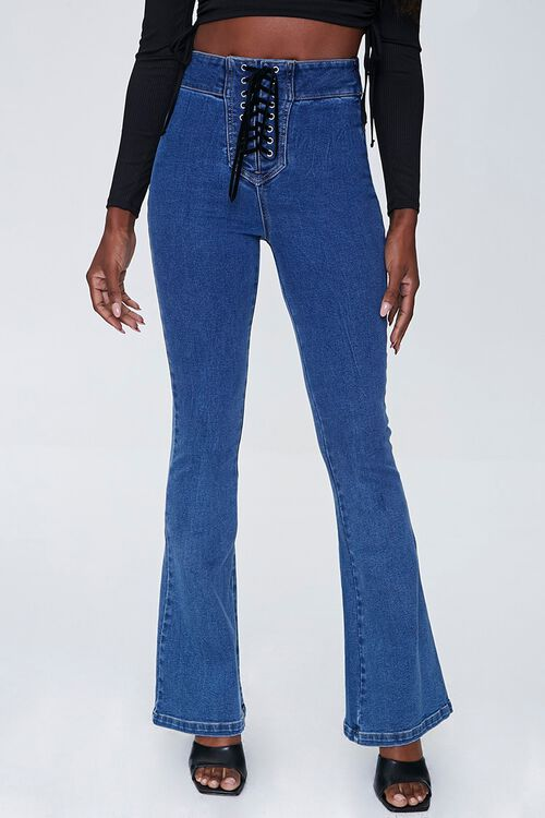 Lace-Up Flare Jeans, image 2