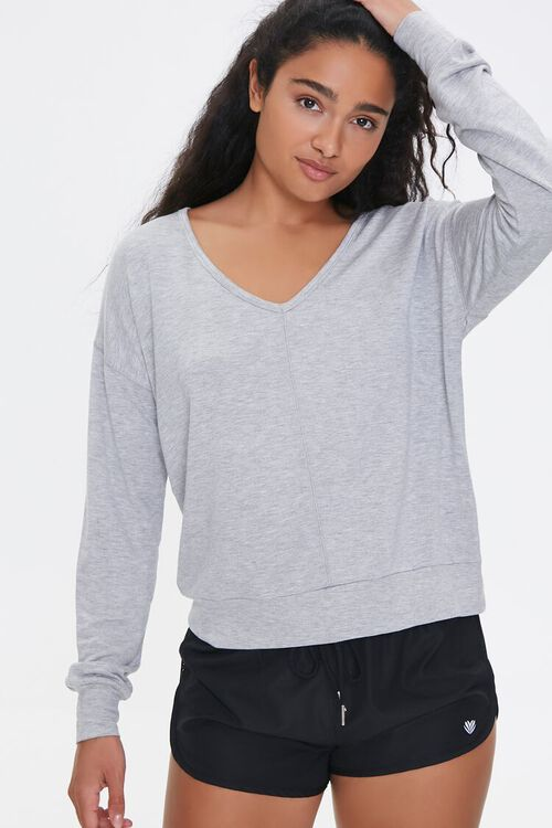 Active Heathered Knit Top, image 1