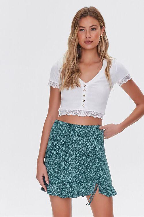 GREEN/LIGHT GREEN Floral Print Mini Skirt, image 1
