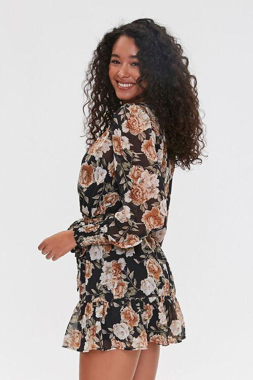 BLACK/TAUPE Floral Print Mini Dress, image 2