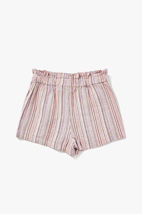 PINK/MULTI Girls Linen-Blend Paperbag Shorts (Kids), image 2