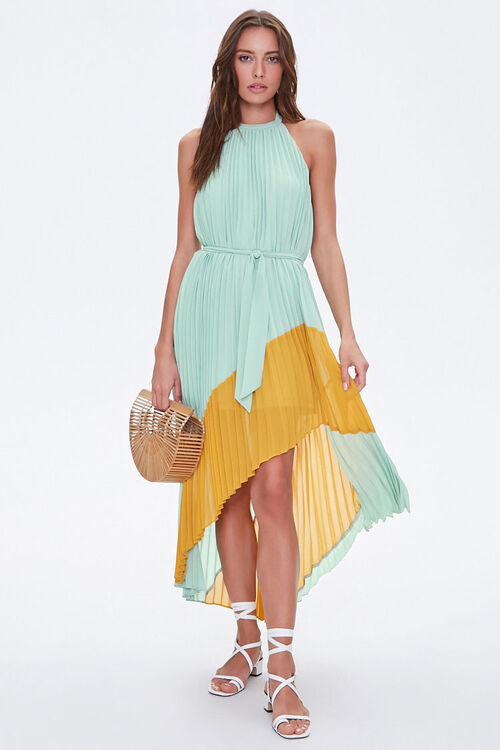Pleated High-Low Halter Dress, image 4