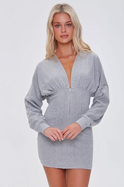 HEATHER GREY Zip-Up Hoodie Dress, image 1