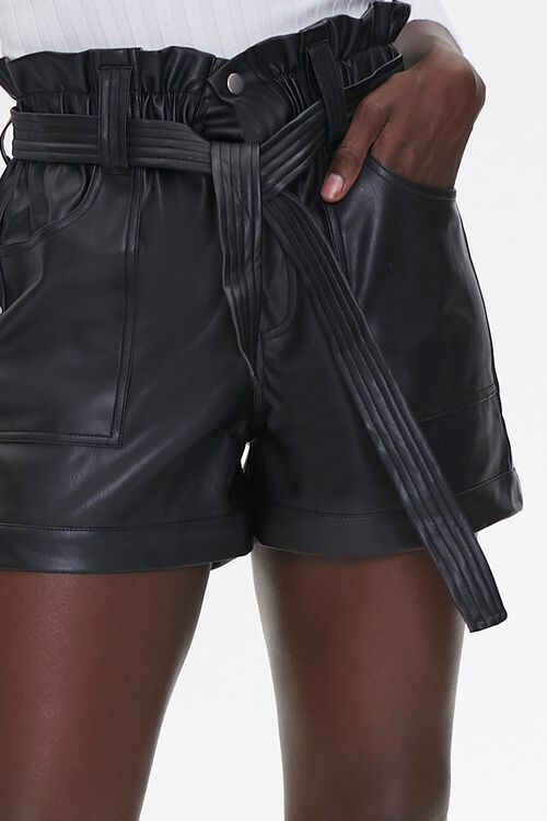 Faux Leather Paperbag Shorts, image 5