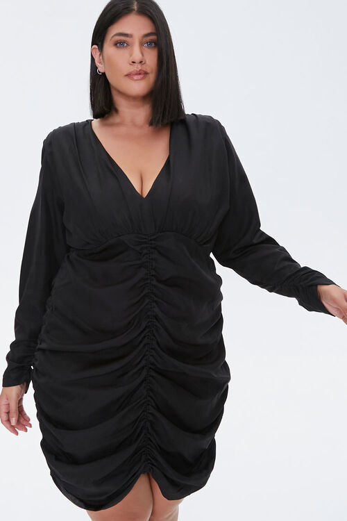 Plus Size Ruched Mini Dress, image 1