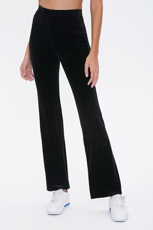 BLACK Flare-Leg Velvet Pants, image 2