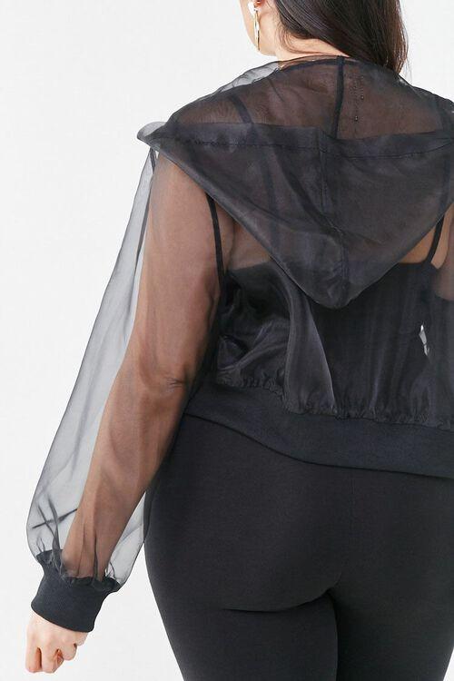 BLACK Plus Size Organza Zip-Up Hoodie, image 3