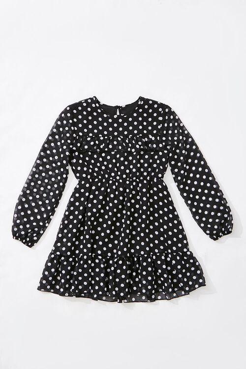 Girls Chiffon Polka Dot Dress (Kids), image 1