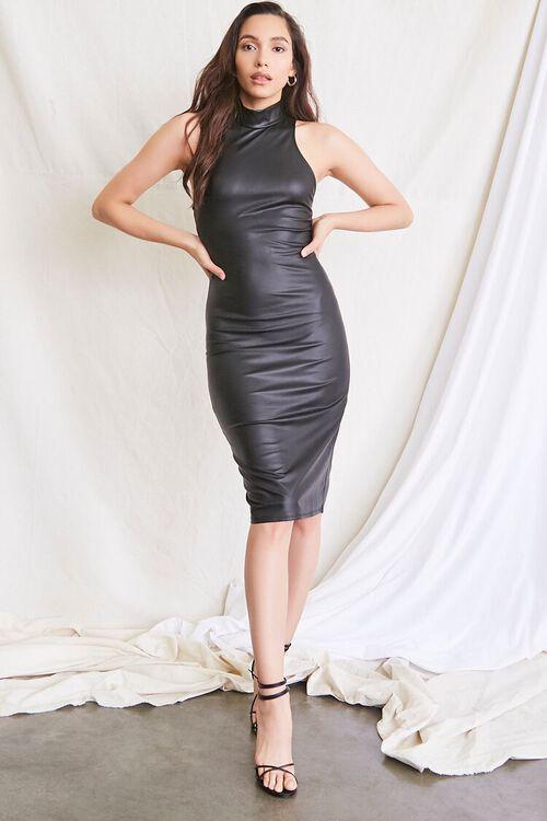BLACK Faux Leather Slit Dress, image 4