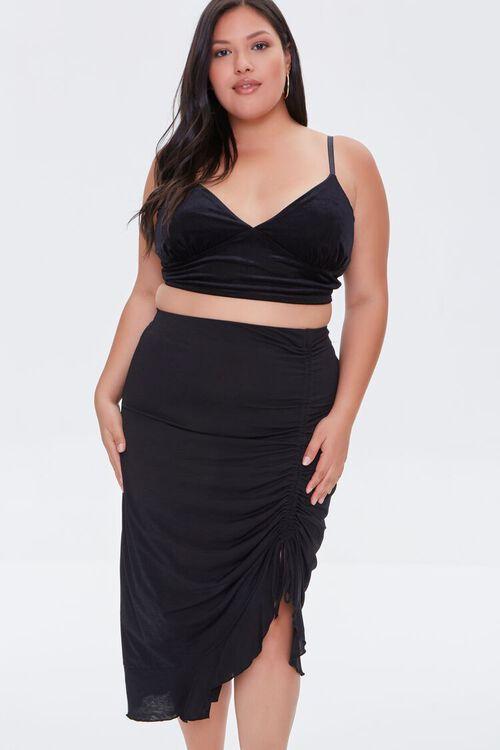 Plus Size Ruched Drawstring Midi Skirt, image 6