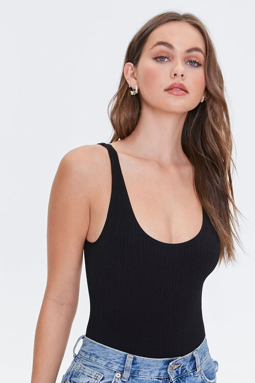 Seamless Ribbed Knit Bodysuit, image 1