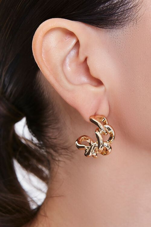 GOLD Warped Chain Hoop Earrings, image 2