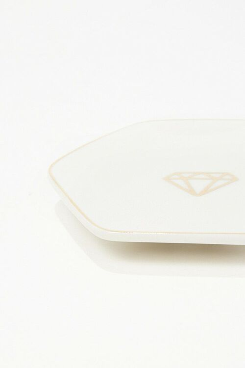 WHITE/GOLD Hexagon Ceramic Coaster, image 2
