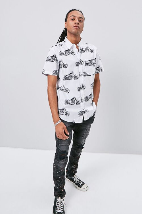 Motorcycle Print Fitted Shirt, image 4
