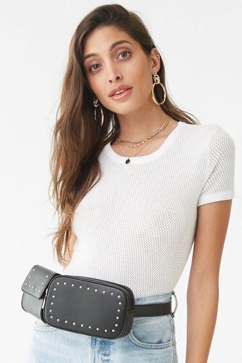 BLACK Studded Faux Leather Belt Bag, image 1