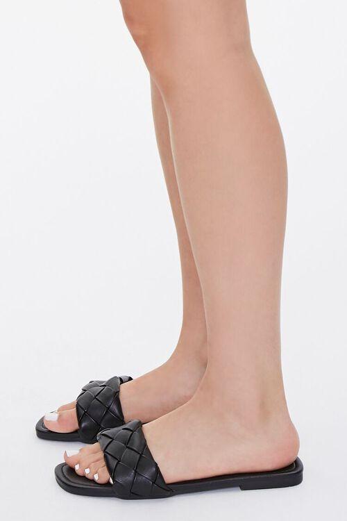 BLACK Basketwoven Faux Leather Sandals, image 2
