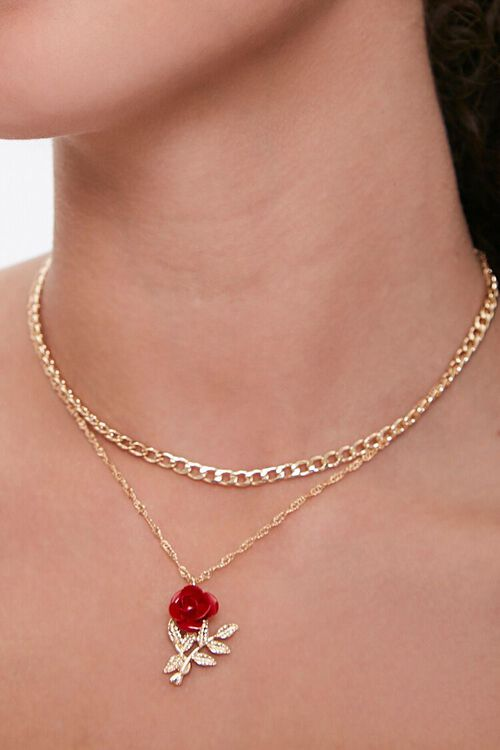 GOLD/RED Layered Rose Pendant Necklace, image 1