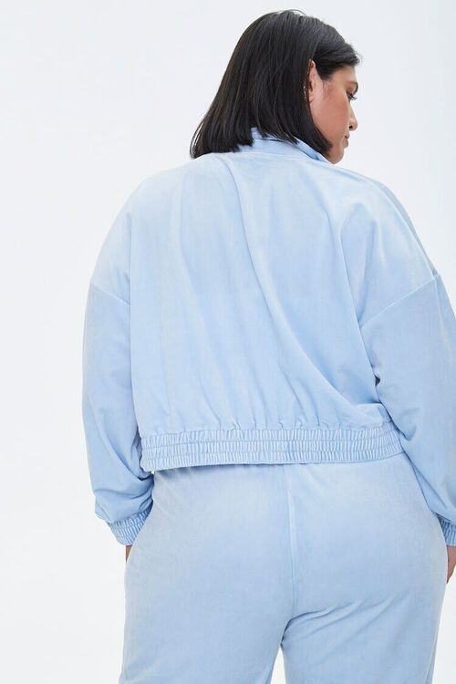LIGHT BLUE Plus Size Velour Zip-Up Jacket, image 3