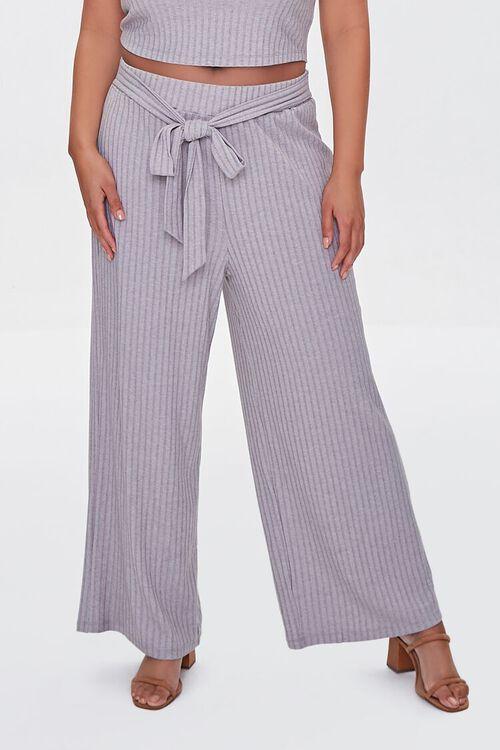 HEATHER GREY Plus Size Ribbed Knit Crop Top & Pants Set, image 5
