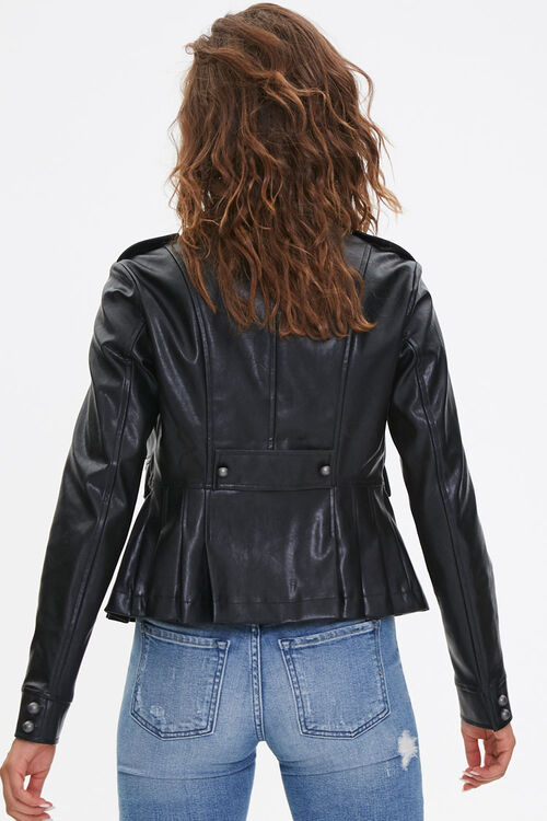 BLACK Faux Leather Bauble Jacket, image 3
