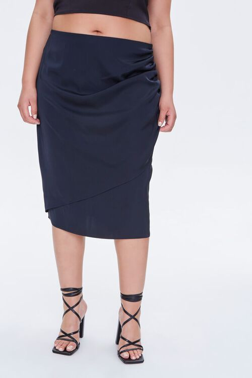 Plus Size Ruched Tulip-Hem Skirt, image 2