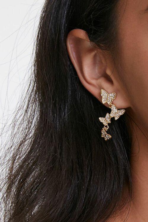 Rhinestone Butterfly Earrings, image 1