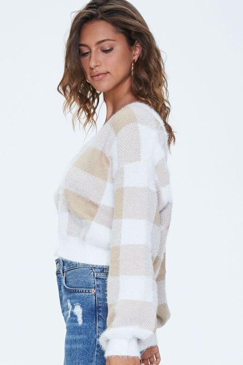 BROWN/CREAM Fuzzy Plaid Cardigan Sweater, image 2