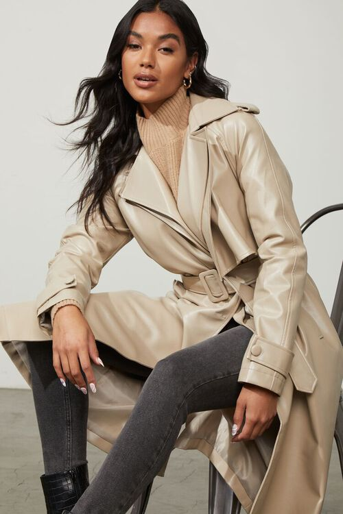 DESERT SAND Faux Leather Trench Coat, image 1