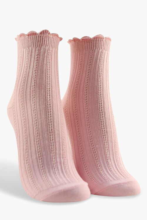 Scalloped-Trim Crew Socks, image 1
