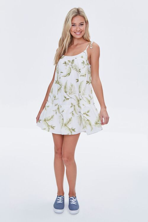 CREAM/GREEN Leaf Print Mini Dress, image 4