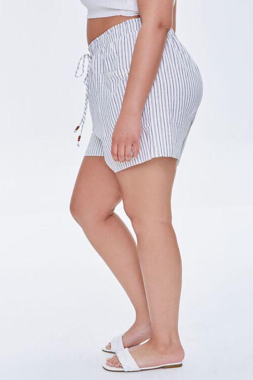 IVORY/BLACK Plus Size Striped Paperbag Shorts, image 3