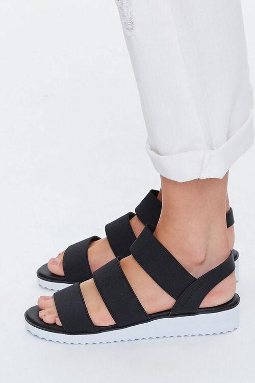 BLACK Strappy Flatform Wedge Sandals, image 3