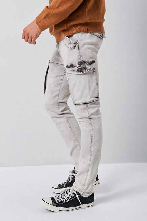 Bleach Washed Cargo Jeans, image 3