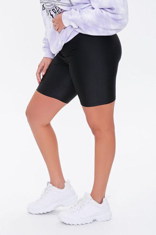 BLACK Plus Size Knit Biker Shorts, image 3