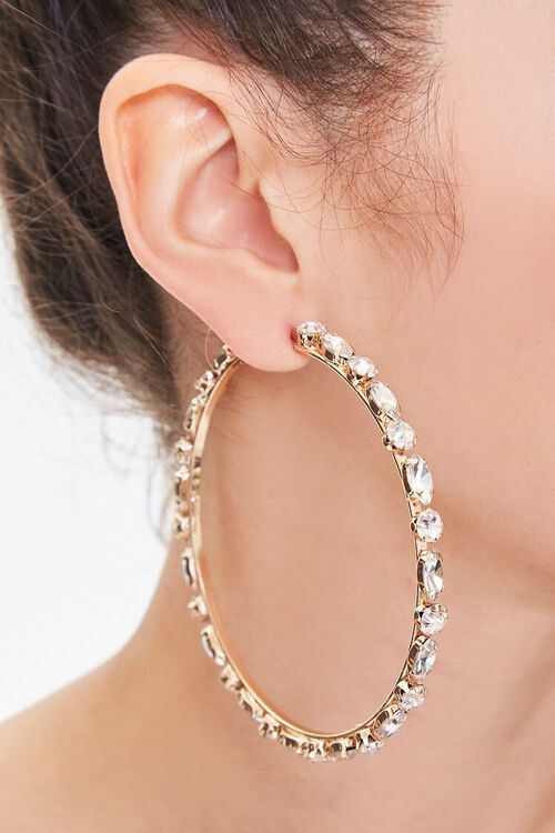 Faux Gem Oversized Hoop Earrings, image 1