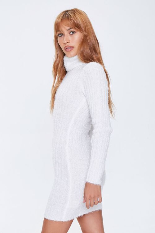 Fuzzy Knit Turtleneck Sweater Dress, image 3