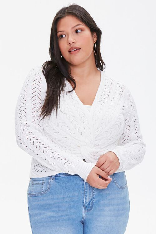 Plus Size Twisted Sweater-Knit Top, image 1