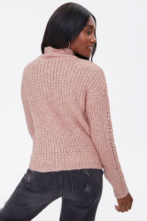 Open-Knit Mock Neck Sweater, image 3