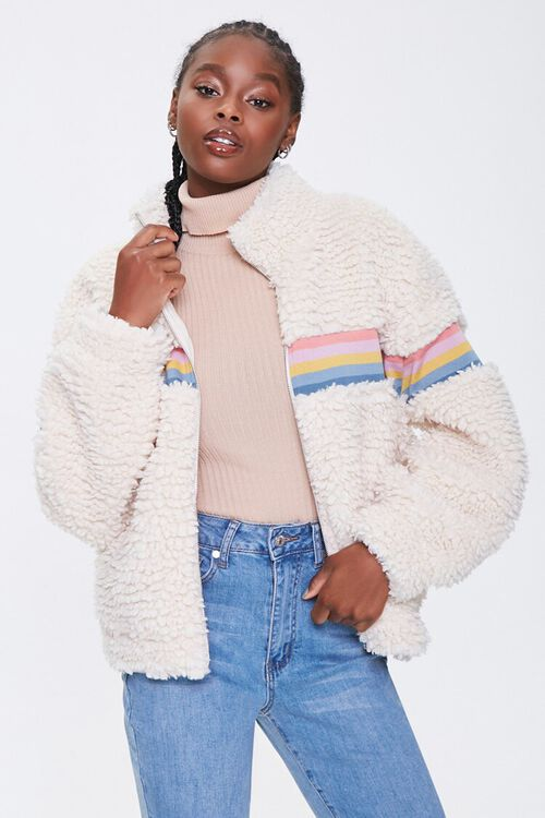 Striped Faux Shearling Jacket, image 1