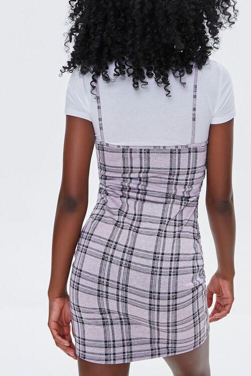 LAVENDER/WHITE Plaid Cami Overall Dress, image 3