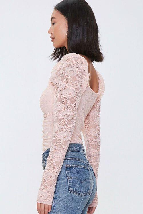 Ruched Floral Lace Bodysuit, image 2