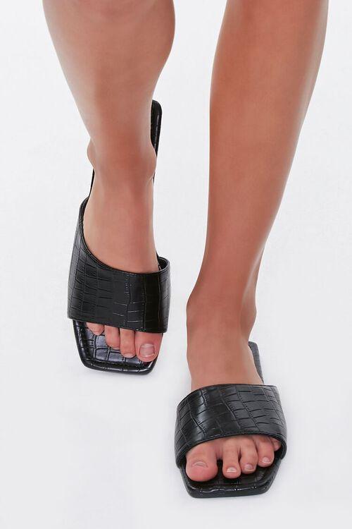 Faux Croc Leather Square-Toe Sandals, image 4