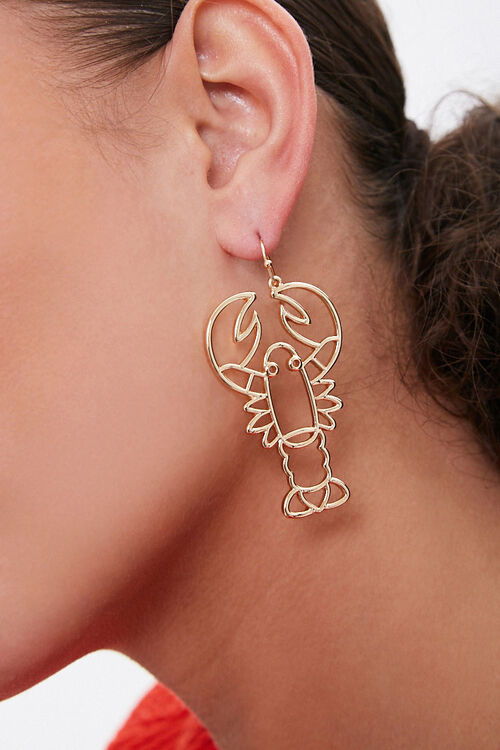 GOLD Lobster Cutout Drop Earrings, image 1
