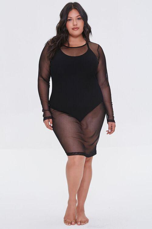 Plus Size Mesh Swim Cover-Up Dress, image 4
