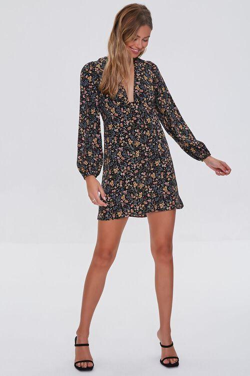 BLACK/MULTI Floral Print Mini Dress, image 4