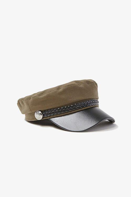 Faux Leather Trim Cabbie Hat, image 2