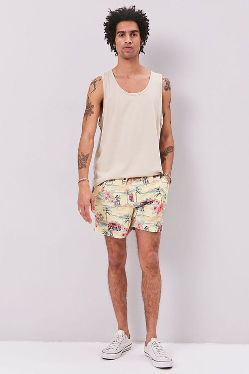 Tropical Print Swim Trunks, image 5